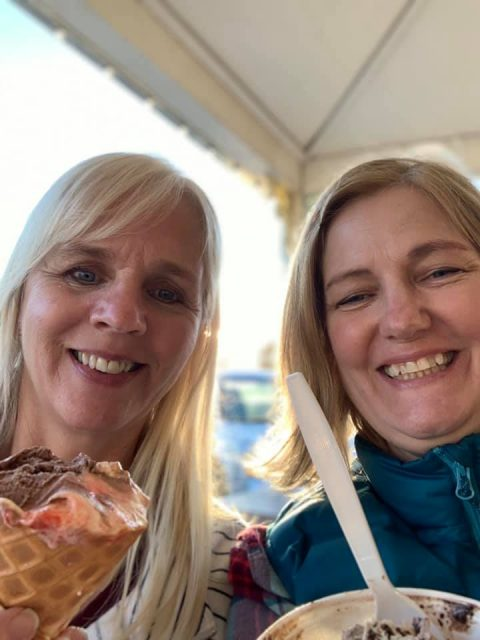 author and friend eating ice cream for dinner in Long Beach, WA